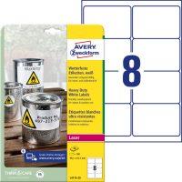Avery Zweckform No. L4715-20 lézeres 99,1 x 67,7 mm méretű, fehér időjárásálló öntapadó etikett címke, tartós ragasztóval A4-es íven - 160 címke / csomag - 20 ív / csomag (Avery L4715-20)