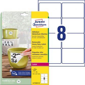 Avery Zweckform L4715REV-20 nyomtatható öntapadós időjárásálló etikett címke