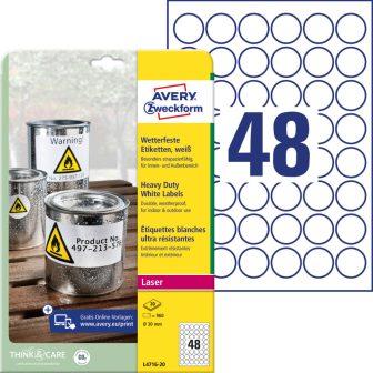 Avery Zweckform No. L4716-20 lézeres 30 mm átmérőjű, fehér időjárásálló öntapadó körcímke, tartós ragasztóval A4-es íven - 960 címke / csomag - 20 ív / csomag (Avery L4716-20)