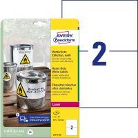 Avery Zweckform No. L4717-20 lézeres 210 x 148 mm méretű, fehér időjárásálló öntapadó etikett címke, tartós ragasztóval A4-es íven - 40 címke / csomag - 20 ív / csomag (Avery L4717-20)