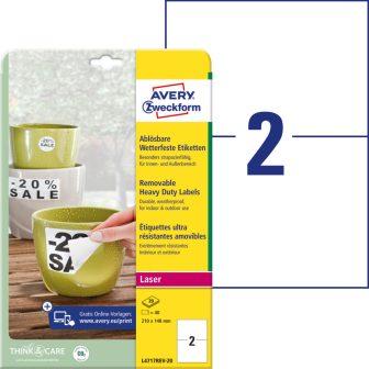 Avery Zweckform L4717REV-20 nyomtatható öntapadós időjárásálló etikett címke