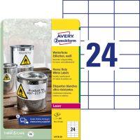 Avery Zweckform No. L4718-20 lézeres 70 x 37 mm méretű, fehér időjárásálló öntapadó etikett címke, tartós ragasztóval A4-es íven - 480 címke / csomag - 20 ív / csomag (Avery L4718-20)