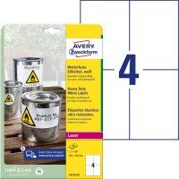 Avery Zweckform No. L4719-20 lézeres 105 x 148 mm méretű, fehér időjárásálló öntapadó etikett címke, tartós ragasztóval A4-es íven - 80 címke / csomag - 20 ív / csomag (Avery L4719-20)