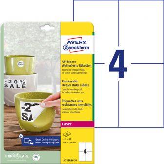 Avery Zweckform L4719REV-20 nyomtatható öntapadós időjárásálló etikett címke