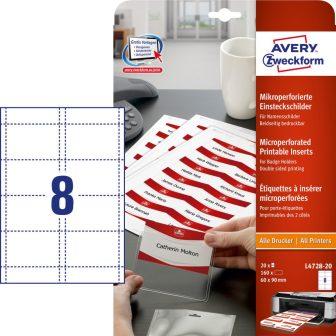 Avery Zweckform No. L4728-20 univerzális A4 mikroperforált fehér 190 g -os névkitűző betétlap (méret: 60 x 90 mm, 160 betétlap / csomag, 20 ív / csomag) (Avery L4728-20)