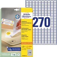 Avery Zweckform No. L4730REV-25 univerzális 17,8 x 10 mm méretű visszaszedhető, fehér öntapadó etikett címke A4-es íven - 8100 címke / csomag - 30 ív / csomag (Avery L4730REV-25)