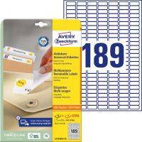 Avery Zweckform No. L4731REV-25 univerzális 25,4 x 10 mm méretű visszaszedhető, fehér öntapadó etikett címke A4-es íven - 5670 címke / csomag - 30 ív / csomag (Avery L4731REV-25)
