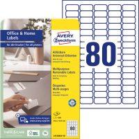 Avery Zweckform No. L4732REV-10 univerzális 35,6 x 16,9 mm méretű visszaszedhető, fehér öntapadó etikett címke A4-es íven - 800 címke / csomag - 10 ív / csomag (Avery L4732REV-10)