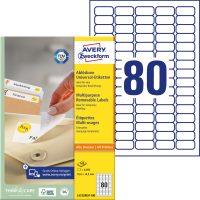 Avery Zweckform No. L4732REV-100 univerzális 35,6 x 16,9 mm méretű visszaszedhető, fehér öntapadó etikett címke A4-es íven - 8000 címke / doboz - 100 ív / doboz (Avery L4732REV-100)