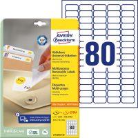 Avery Zweckform No. L4732REV-25 univerzális 35,6 x 16,9 mm méretű visszaszedhető, fehér öntapadó etikett címke A4-es íven - 2400 címke / csomag - 30 ív / csomag (Avery L4732REV-25)