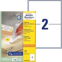 Avery Zweckform No. L4734REV-100 univerzális 199,6 x 143,5 mm méretű visszaszedhető, fehér öntapadó etikett címke A4-es íven - 200 címke / doboz - 100 ív / doboz (Avery L4734REV-100)