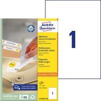 Avery Zweckform No. L4735REV-100 univerzális 210 x 297 mm méretű visszaszedhető, fehér öntapadó etikett címke A4-es íven - 100 címke / doboz - 100 ív / doboz (Avery L4735REV-100)