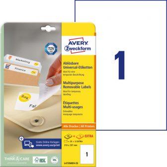 Avery Zweckform No. L4735REV-25 univerzális 210 x 297 mm méretű visszaszedhető, fehér öntapadó etikett címke A4-es íven - 30 címke / csomag - 30 ív / csomag (Avery L4735REV-25)