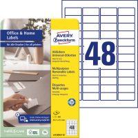 Avery Zweckform No. L4736REV-10 univerzális 45,7 x 21,2 mm méretű visszaszedhető, fehér öntapadó etikett címke A4-es íven - 480 címke / csomag - 10 ív / csomag (Avery L4736REV-10)