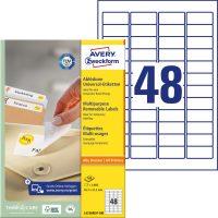 Avery Zweckform No. L4736REV-100 univerzális 45,7 x 21,2 mm méretű visszaszedhető, fehér öntapadó etikett címke A4-es íven - 4800 címke / doboz - 100 ív / doboz (Avery L4736REV-100)