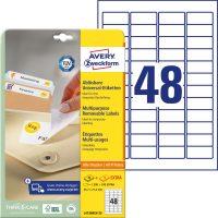 Avery Zweckform No. L4736REV-25 univerzális 45,7 x 21,2 mm méretű visszaszedhető, fehér öntapadó etikett címke A4-es íven - 1440 címke / csomag - 30 ív / csomag (Avery L4736REV-25)