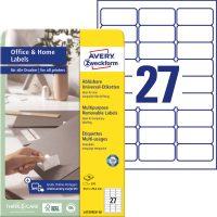 Avery Zweckform No. L4737REV-10 univerzális 63,5 x 29,6 mm méretű visszaszedhető, fehér öntapadó etikett címke A4-es íven - 270 címke / csomag - 10 ív / csomag (Avery L4737REV-10)