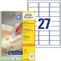 Avery Zweckform No. L4737REV-100 univerzális 63,5 x 29,6 mm méretű visszaszedhető, fehér öntapadó etikett címke A4-es íven - 2700 címke / doboz - 100 ív / doboz (Avery L4737REV-100)