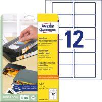 Avery Zweckform No. L4742REV-25 univerzális 78,7 x 46,6 mm méretű visszaszedhető, fehér öntapadó etikett címke A4-es íven - 300 címke / csomag - 25 ív / csomag (Avery L4742REV-25)
