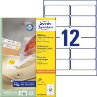 Avery Zweckform No. L4743REV-100 univerzális 99,1 x 42,3 mm méretű visszaszedhető, fehér öntapadó etikett címke A4-es íven - 1200 címke / doboz - 100 ív / doboz (Avery L4743REV-100)