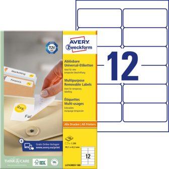Avery Zweckform L4743REV-100 nyomtatható öntapadós visszaszedhető etikett címke