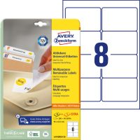 Avery Zweckform No. L4745REV-25 univerzális 96 x 63,5 mm méretű visszaszedhető, fehér öntapadó etikett címke A4-es íven - 240 címke / csomag - 30 ív / csomag (Avery L4745REV-25)