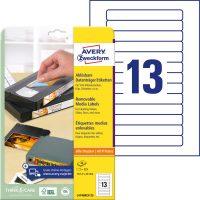 Avery Zweckform No. L4746REV-25 univerzális 147,3 x 20 mm méretű visszaszedhető, fehér öntapadó etikett címke A4-es íven - 325 címke / csomag - 25 ív / csomag (Avery L4746REV-25)