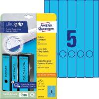 Avery Zweckform No. L4749-20 univerzális 38 x 297 mm méretű, kék színű öntapadó iratrendező címke A4-es íven - 100 címke / csomag - 20 ív / csomag (Avery L4749-20)