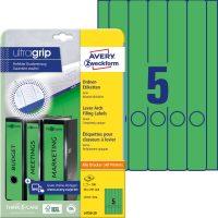 Avery Zweckform No. L4750-20 univerzális 38 x 297 mm méretű, zöld színű öntapadó iratrendező címke A4-es íven - 100 címke / csomag - 20 ív / csomag (Avery L4750-20)