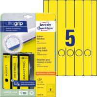 Avery Zweckform No. L4751-20 univerzális 38 x 297 mm méretű, sárga színű öntapadó iratrendező címke A4-es íven - 100 címke / csomag - 20 ív / csomag (Avery L4751-20)