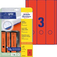 Avery Zweckform No. L4752-20 univerzális 61 x 297 mm méretű, piros színű öntapadó iratrendező címke A4-es íven - 60 címke / csomag - 20 ív / csomag (Avery L4752-20)