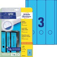 Avery Zweckform No. L4753-20 univerzális 61 x 297 mm méretű, kék színű öntapadó iratrendező címke A4-es íven - 60 címke / csomag - 20 ív / csomag (Avery L4753-20)
