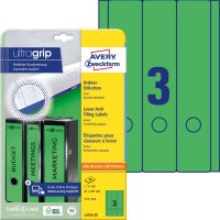 Avery Zweckform No. L4754-20 univerzális 61 x 297 mm méretű, zöld színű öntapadó iratrendező címke A4-es íven - 60 címke / csomag - 20 ív / csomag (Avery L4754-20)