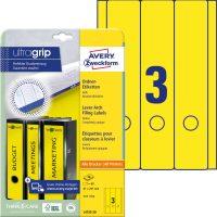 Avery Zweckform No. L4755-20 univerzális 61 x 297 mm méretű, sárga színű öntapadó iratrendező címke A4-es íven - 60 címke / csomag - 20 ív / csomag (Avery L4755-20)