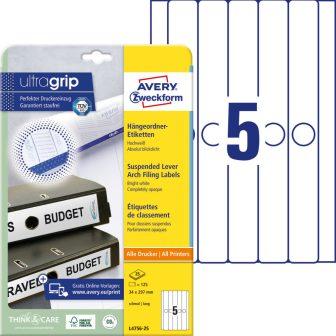 Avery Zweckform No. L4756-25 univerzális 34 x 297 mm méretű, fehér öntapadó függőmappa címke A4-es íven - 125 címke / csomag - 25 ív / csomag (Avery L4756-25)