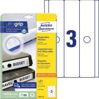 Avery Zweckform No. L4757-25 univerzális 63 x 297 mm méretű, fehér öntapadó függőmappa címke A4-es íven - 75 címke / csomag - 25 ív / csomag (Avery L4757-25)