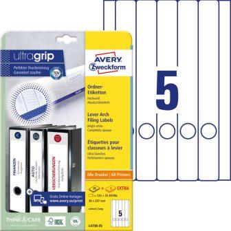 Avery Zweckform No. L4758-25 univerzális 38 x 297 mm méretű, fehér öntapadó iratrendező címke A4-es íven - 125 címke / csomag - 25 ív / csomag (Avery L4758-25)