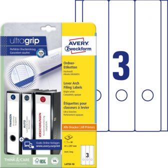 Avery Zweckform No. L4759-10 univerzális 61 x 297 mm méretű, fehér öntapadó iratrendező címke A4-es íven - 30 címke / csomag - 10 ív / csomag (Avery L4759-10)