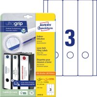Avery Zweckform No. L4759-25 univerzális 61 x 297 mm méretű, fehér öntapadó iratrendező címke A4-es íven - 75 címke / csomag - 25 ív / csomag (Avery L4759-25)