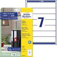 Avery Zweckform No. L4760-10 univerzális 38 x 192 mm méretű, fehér öntapadó iratrendező címke A4-es íven - 70 címke / csomag - 10 ív / csomag (Avery L4760-10)