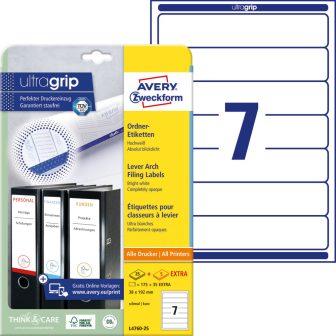 Avery Zweckform No. L4760-25 univerzális 38 x 192 mm méretű, fehér öntapadó iratrendező címke A4-es íven - 175 címke / csomag - 25 ív / csomag (Avery L4760-25)