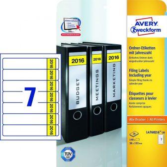 Avery Zweckform No. L4760J16-20 univerzális 38 x 192 mm méretű, fehér öntapadó iratrendező címke A4-es íven, 2016-os évszámmal - 140 címke / csomag - 20 ív / csomag (Avery L4760J16-20)