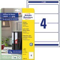 Avery Zweckform No. L4761-10 univerzális 61 x 192 mm méretű, fehér öntapadó iratrendező címke A4-es íven - 40 címke / csomag - 10 ív / csomag (Avery L4761-10)
