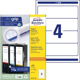 Avery Zweckform No. L4761-100 univerzális 61 x 192 mm méretű, fehér öntapadó iratrendező címke A4-es íven - 400 címke / doboz - 100 ív / doboz (Avery L4761-100)