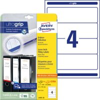 Avery Zweckform No. L4761-25 univerzális 61 x 192 mm méretű, fehér öntapadó iratrendező címke A4-es íven - 100 címke / csomag - 25 ív / csomag (Avery L4761-25)