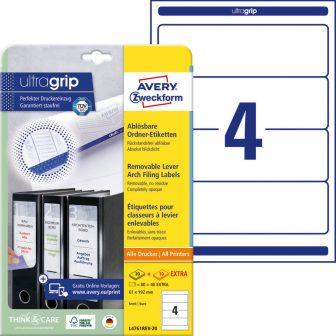 Avery Zweckform No. L4761REV-20 univerzális 61 x 192 mm méretű visszaszedhető, fehér öntapadó iratrendező címke A4-es íven - 80 címke / csomag - 20 ív / csomag (Avery L4761REV-20)