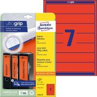 Avery Zweckform No. L4762-20 univerzális 38 x 192 mm méretű, piros színű öntapadó iratrendező címke A4-es íven - 140 címke / csomag - 20 ív / csomag (Avery L4762-20)