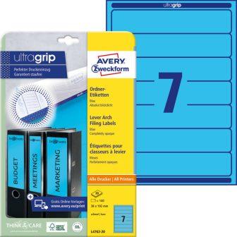 Avery Zweckform No. L4763-20 univerzális 38 x 192 mm méretű, kék színű öntapadó iratrendező címke A4-es íven - 140 címke / csomag - 20 ív / csomag (Avery L4763-20)