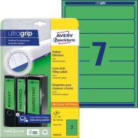 Avery Zweckform No. L4764-20 univerzális 38 x 192 mm méretű, zöld színű öntapadó iratrendező címke A4-es íven - 140 címke / csomag - 20 ív / csomag (Avery L4764-20)