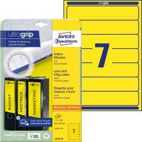 Avery Zweckform No. L4765-20 univerzális 38 x 192 mm méretű, sárga színű öntapadó iratrendező címke A4-es íven - 140 címke / csomag - 20 ív / csomag (Avery L4765-20)